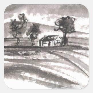 Cielos tempestuosos y pegatinas chinos del paisaje calcomanía cuadradas personalizadas