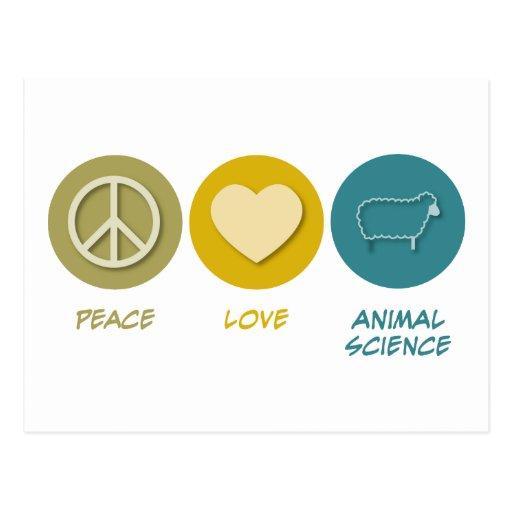 Ciencia animal del amor de la paz tarjeta postal
