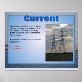 Ciencia, corriente de la electricidad póster