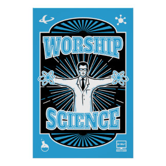Ciencia de la adoración - científico retro Geeky Póster