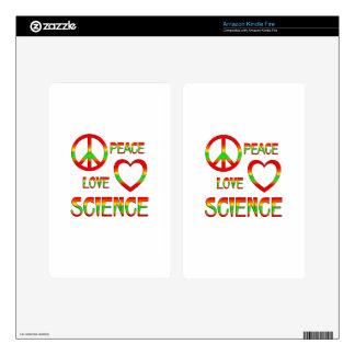 Ciencia del amor de la paz kindle fire pegatinas skins