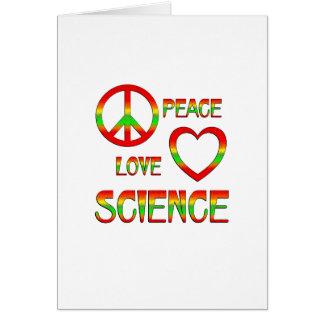 Ciencia del amor de la paz tarjeta de felicitación