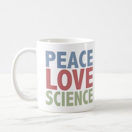Ciencia del amor de la paz taza de café