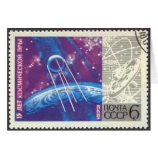 Ciencia espacial rusa de Sputnik 1 15 años Tarjeta Pequeña