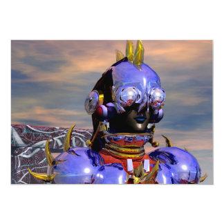 """Ciencia ficción azul del RETRATO del CYBORG del Invitación 5"""" X 7"""""""
