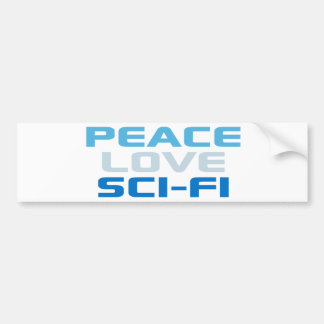 Ciencia ficción del amor de la paz etiqueta de parachoque