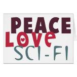 Ciencia ficción del amor de la paz felicitaciones