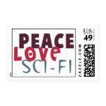 Ciencia ficción del amor de la paz franqueo