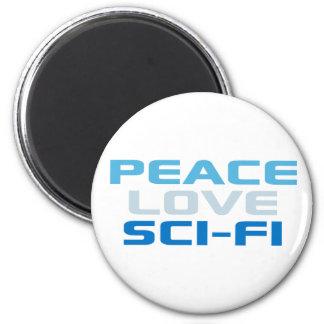 Ciencia ficción del amor de la paz imán redondo 5 cm