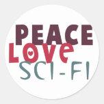 Ciencia ficción del amor de la paz pegatina redonda