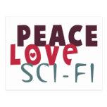 Ciencia ficción del amor de la paz postal
