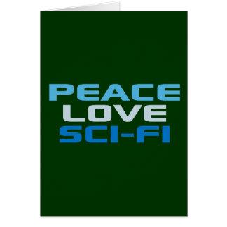 Ciencia ficción del amor de la paz tarjeta de felicitación