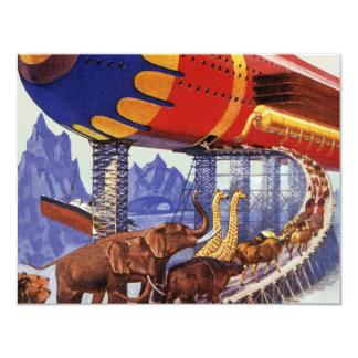 """Ciencia ficción del vintage, animales salvajes de invitación 4.25"""" x 5.5"""""""