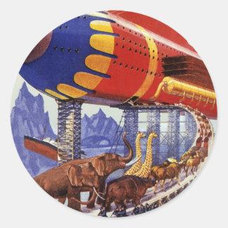 Ciencia ficción del vintage, animales salvajes de pegatina redonda