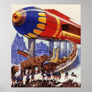 Ciencia ficción del vintage, animales salvajes de póster