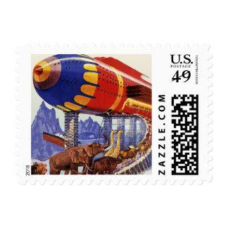 Ciencia ficción del vintage, animales salvajes de sellos postales