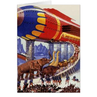 Ciencia ficción del vintage, animales salvajes de tarjeta de felicitación