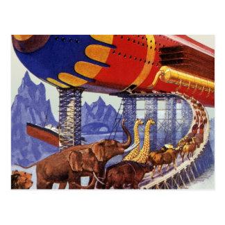 Ciencia ficción del vintage, animales salvajes de tarjeta postal