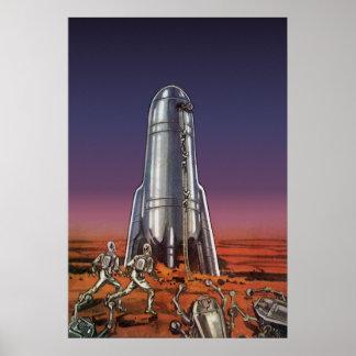Ciencia ficción del vintage astronautas extranje impresiones