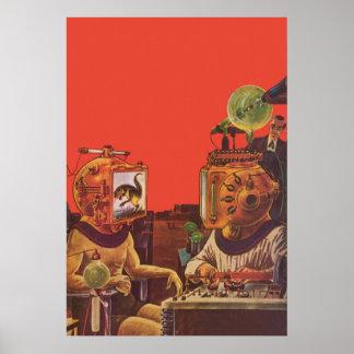 Ciencia ficción del vintage, cascos extranjeros póster