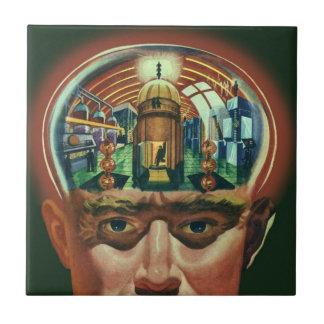 Ciencia ficción del vintage, cerebro extranjero en azulejo cuadrado pequeño