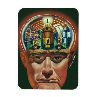 Ciencia ficción del vintage, cerebro extranjero en imán foto rectangular