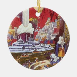 Ciencia ficción del vintage, ciudad perdida de la adornos de navidad