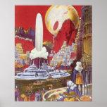 Ciencia ficción del vintage, ciudad perdida de la poster