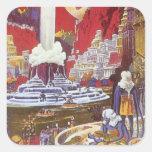Ciencia ficción del vintage, ciudad perdida de la pegatina cuadrada