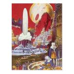 Ciencia ficción del vintage, ciudad perdida de la postal