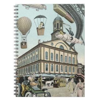 Ciencia ficción del vintage, ciudad punky del libro de apuntes con espiral