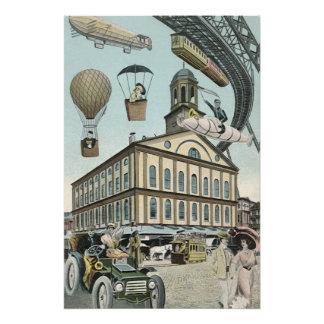 Ciencia ficción del vintage, ciudad punky del perfect poster