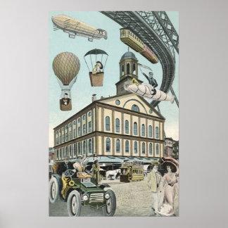 Ciencia ficción del vintage, ciudad punky del póster