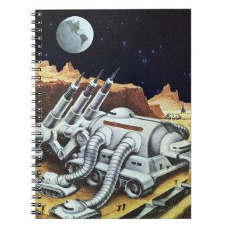 Ciencia ficción del vintage, estación espacial en libro de apuntes