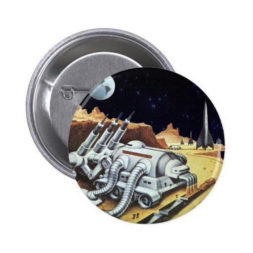 Ciencia ficción del vintage, estación espacial en pin redondo 5 cm