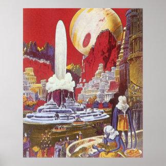 Ciencia ficción del vintage, la ciudad perdida de póster