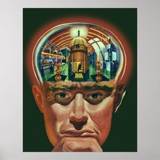 Ciencia ficción del vintage, laboratorio póster