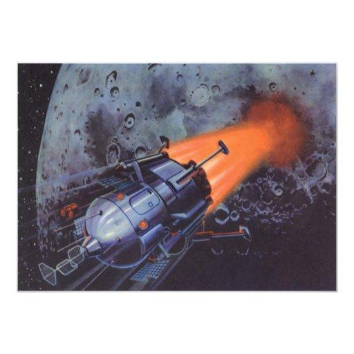 """Ciencia ficción del vintage, luna Rocket que Invitación 5"""" X 7"""""""