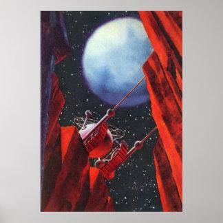 Ciencia ficción del vintage, luna Rover del Póster