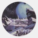 Ciencia ficción del vintage, planeta azul con los pegatina redonda