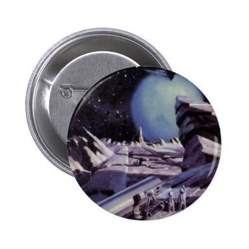 Ciencia ficción del vintage, planeta azul con los pin