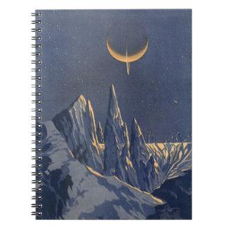 Ciencia ficción del vintage, planeta creciente de cuadernos