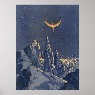 Ciencia ficción del vintage, planeta creciente de póster