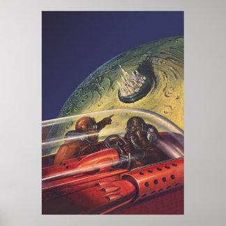 Ciencia ficción del vintage que vuela a la ciudad poster