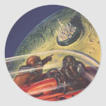 Ciencia ficción del vintage que vuela a la ciudad pegatinas redondas