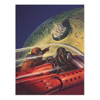 Ciencia ficción del vintage que vuela a la ciudad tarjetas postales