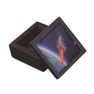 Ciencia ficción del vintage Rocket en espacio Caja De Regalo De Calidad