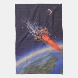 Ciencia ficción del vintage Rocket en espacio Toallas De Cocina