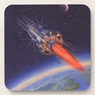 Ciencia ficción del vintage Rocket en espacio Posavasos