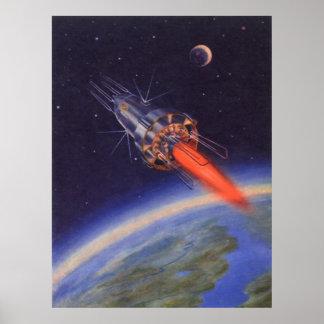 Ciencia ficción del vintage Rocket en espacio Póster